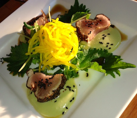 Another delicious composition: gently spicy Tuna tataki with smooth avocado cream