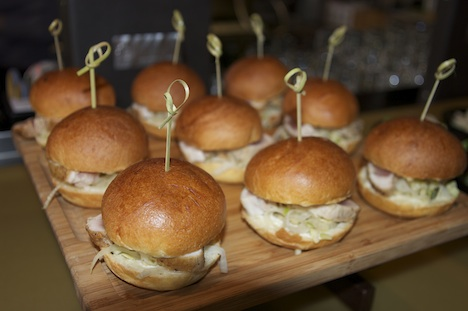 Albacore tuna sliders, with  fennel & apple slaw, and zippy lime aioli on brioche bun