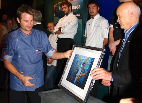 Vancouver Aquarium President and CEO John Nightingale presents Four Seasons and Yew executive chef Ned Bell with People's Choice Award