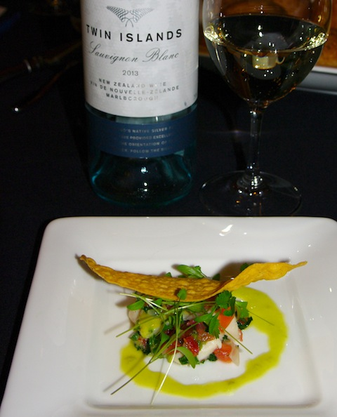 Vintners brunch winner Joe Fortes scallop ceviche, with Nautilus Twin Islands Sauvignon Blanc