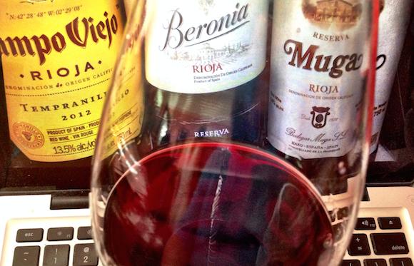 Rioja wine bottles and keyboard