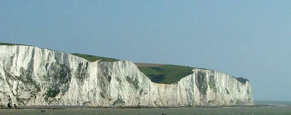 The cliffs of Dover are white for a reason, as well as being not that far from Champagne (Wikipedia image)