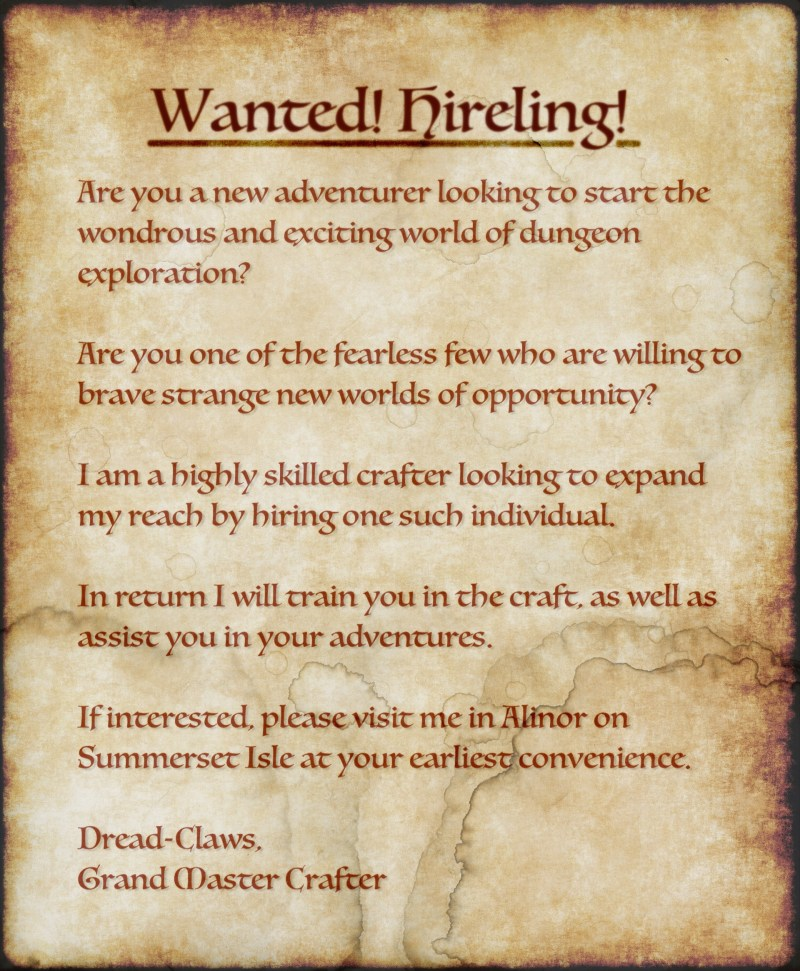 Hireling Wanted!