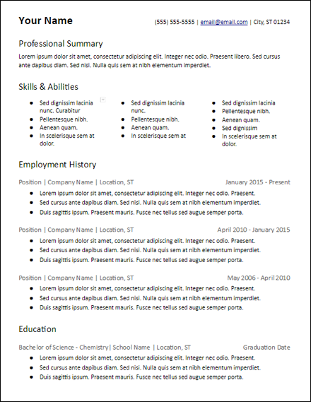 3 column lots of skills resume template