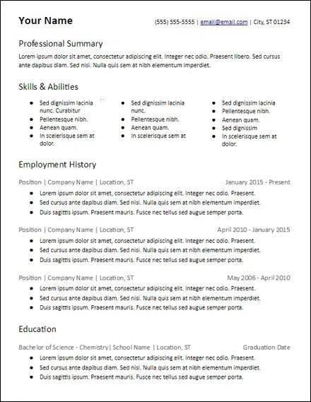 3 columns skills based resume template