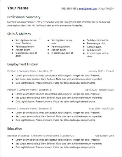 3 Columns Skills Based Resume Template