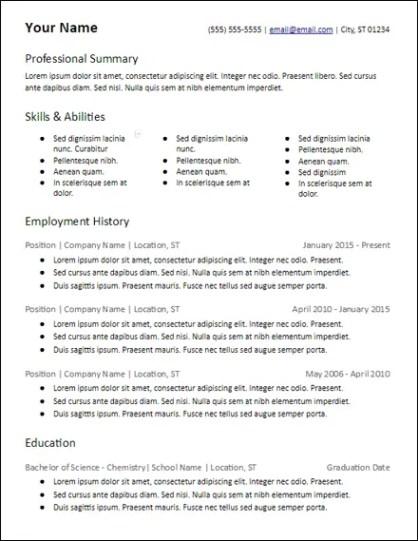 3 Columns Skills Based Resume Template - HirePowers.net