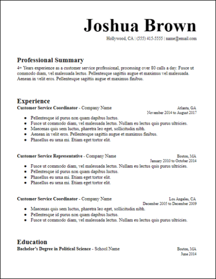 Free Professional Summary Resume Templates For Download