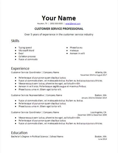 Specific Industry Professional Summary Skills Based Resume