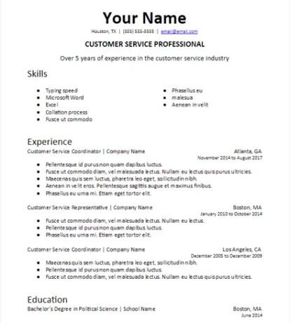 Industry Summary Skills Based Resume Description