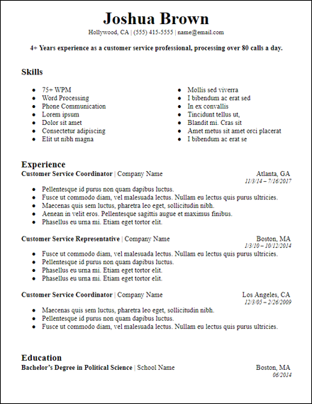 bolded professional summary resume