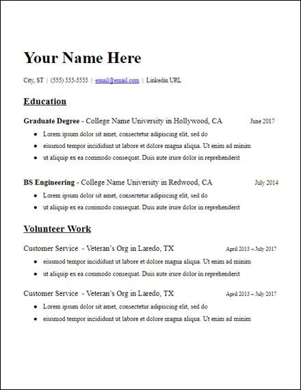 no experience education grad school resume template