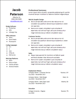 google docs functional resume template