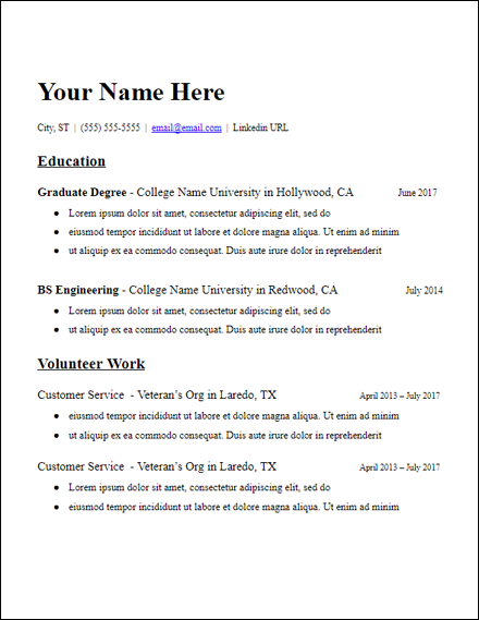 microsoft word resume template graduate school education