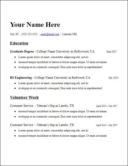 Microsoft Word Resume Template Graduate School Education ...