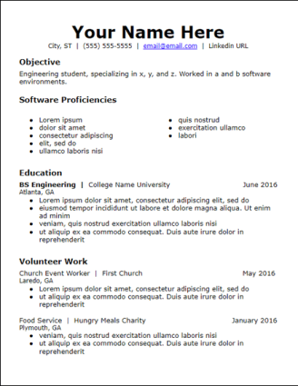 Objective Skills Education No Experience Resume Template