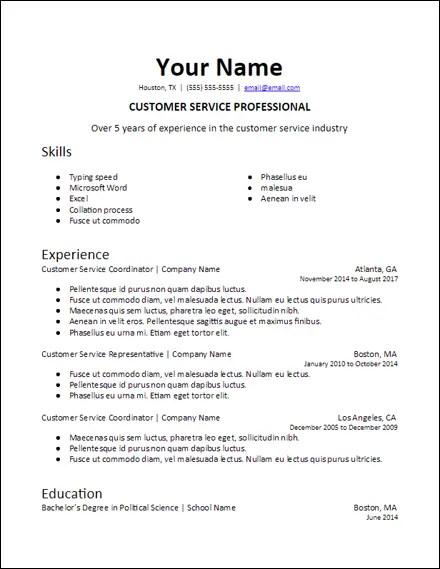 google_docs_specific_professional_summary_resume_template