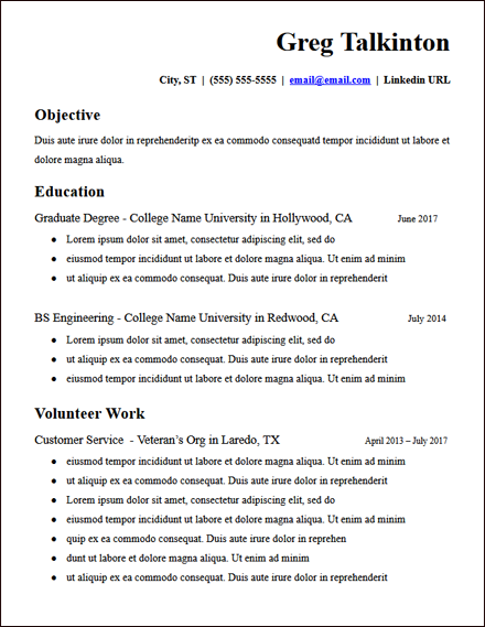 College Student Education Google Docs Resume Template