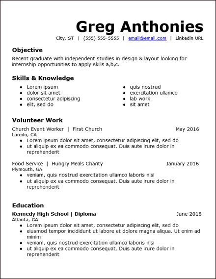 resume for highschool students with volunteer experience