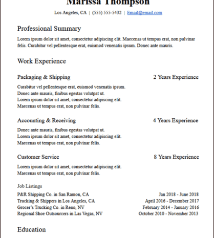 Years Of Experience Functional Resume Description