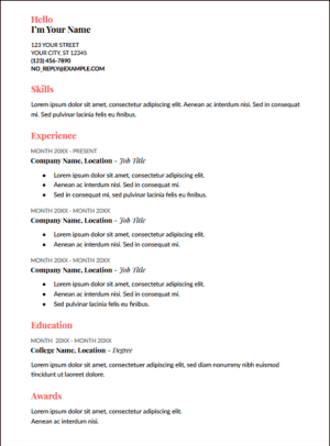 coral google docs resume template
