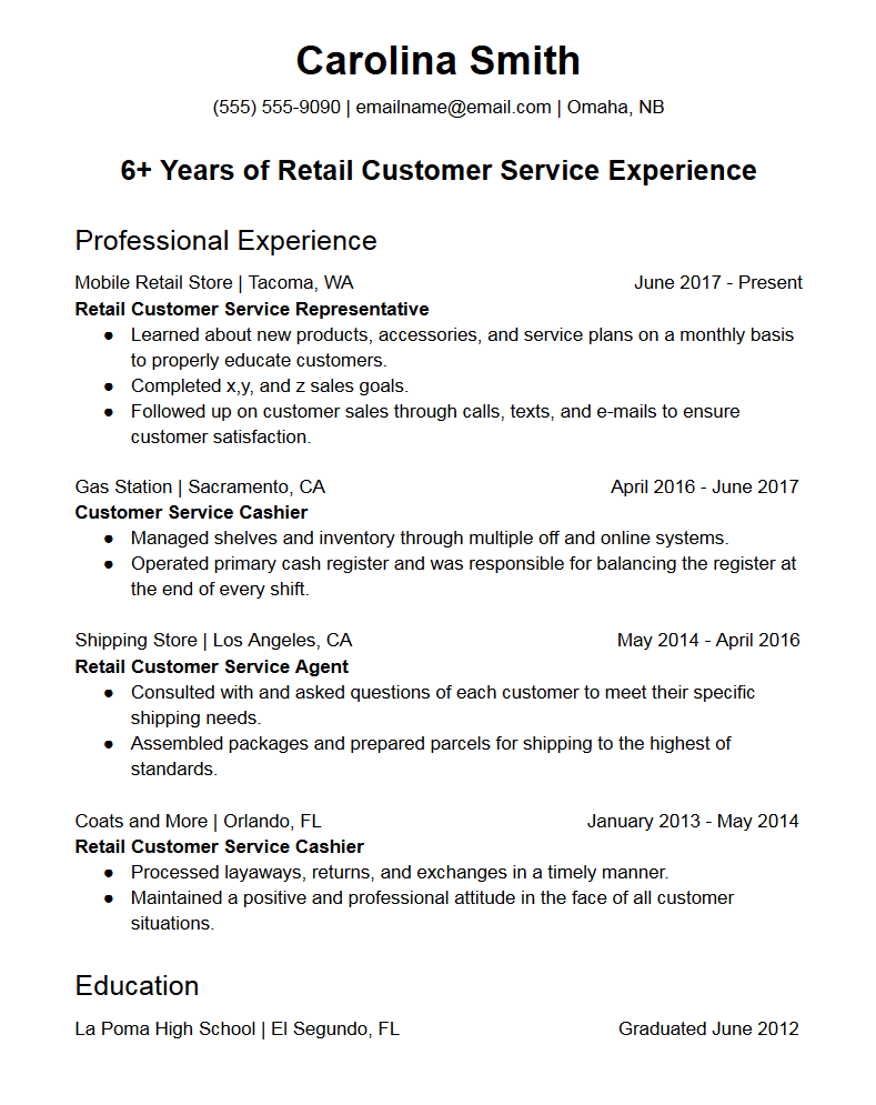 free resume for customer service