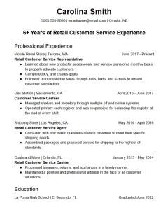 retail customer service representative resume template
