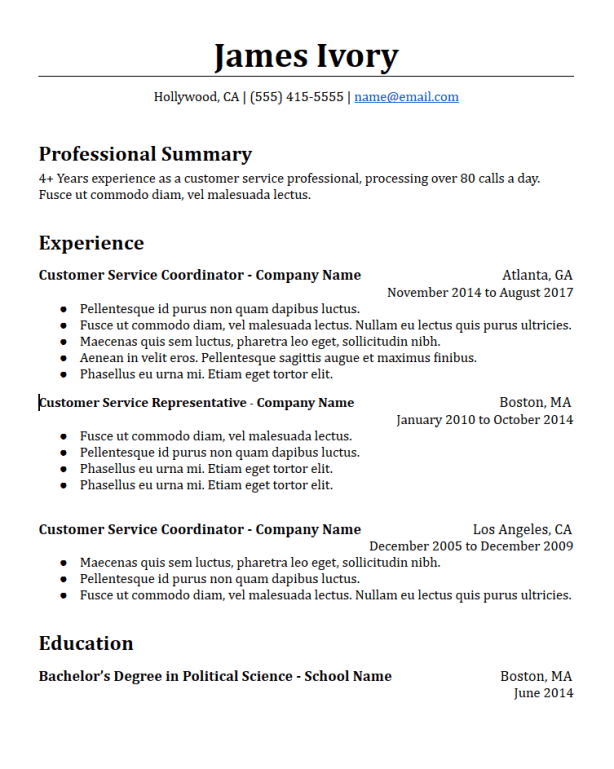 Chronological Resume Templates Free To Download - HirePowers.net