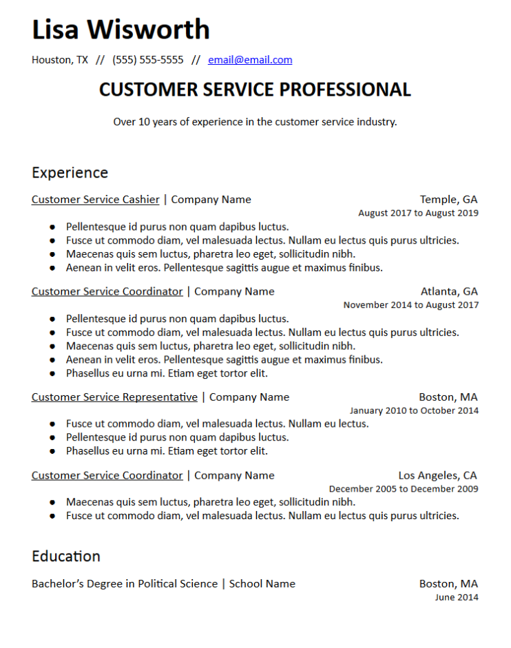 Professional Summary Resume Templates Free To Download