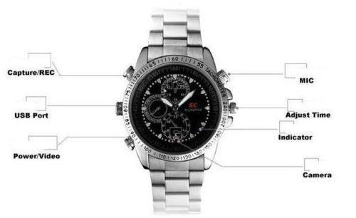Men Women 16GB Waterproof Spy Hidden Wrist Watch Camera