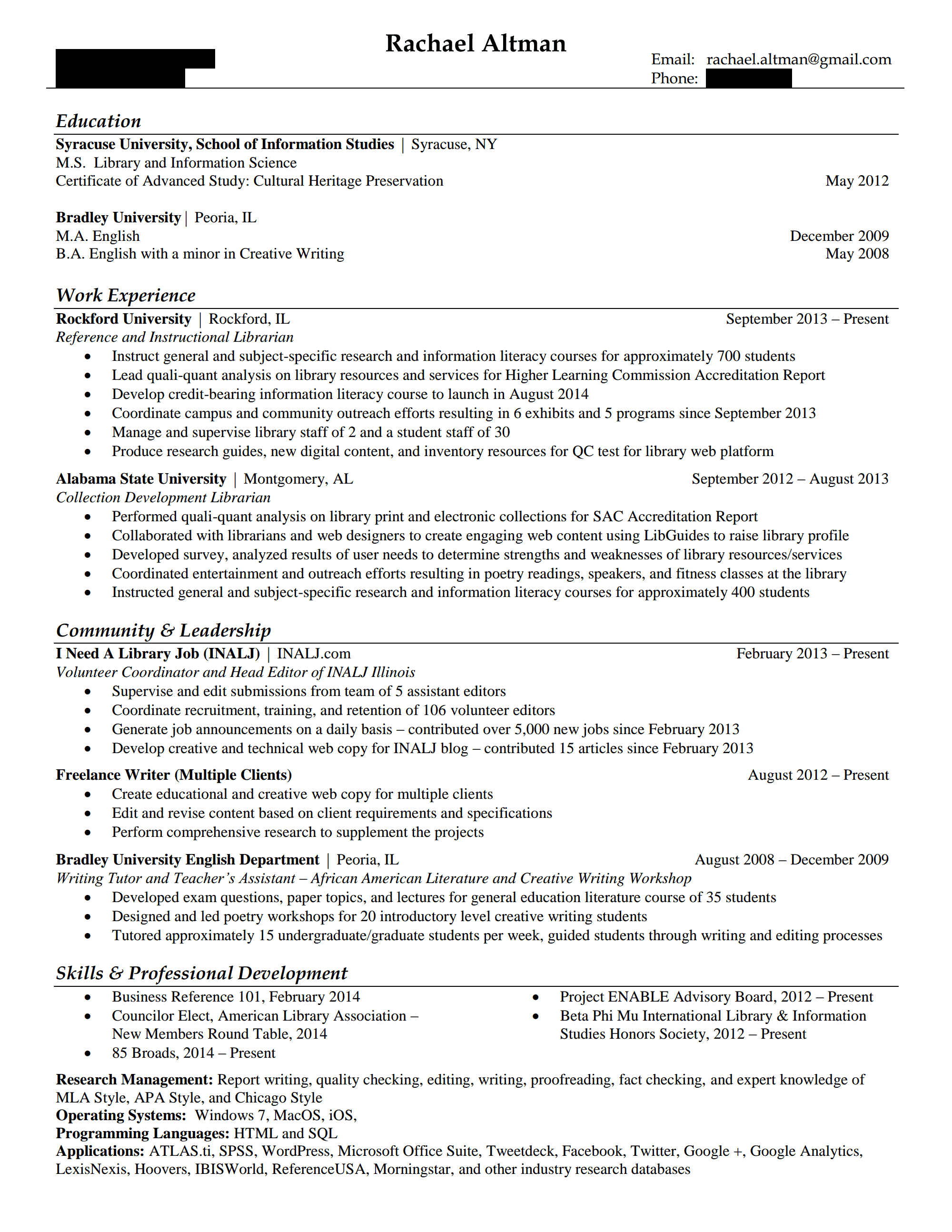Resume Market Research Analyst Other Organization Or Library Type Hiring Librarians