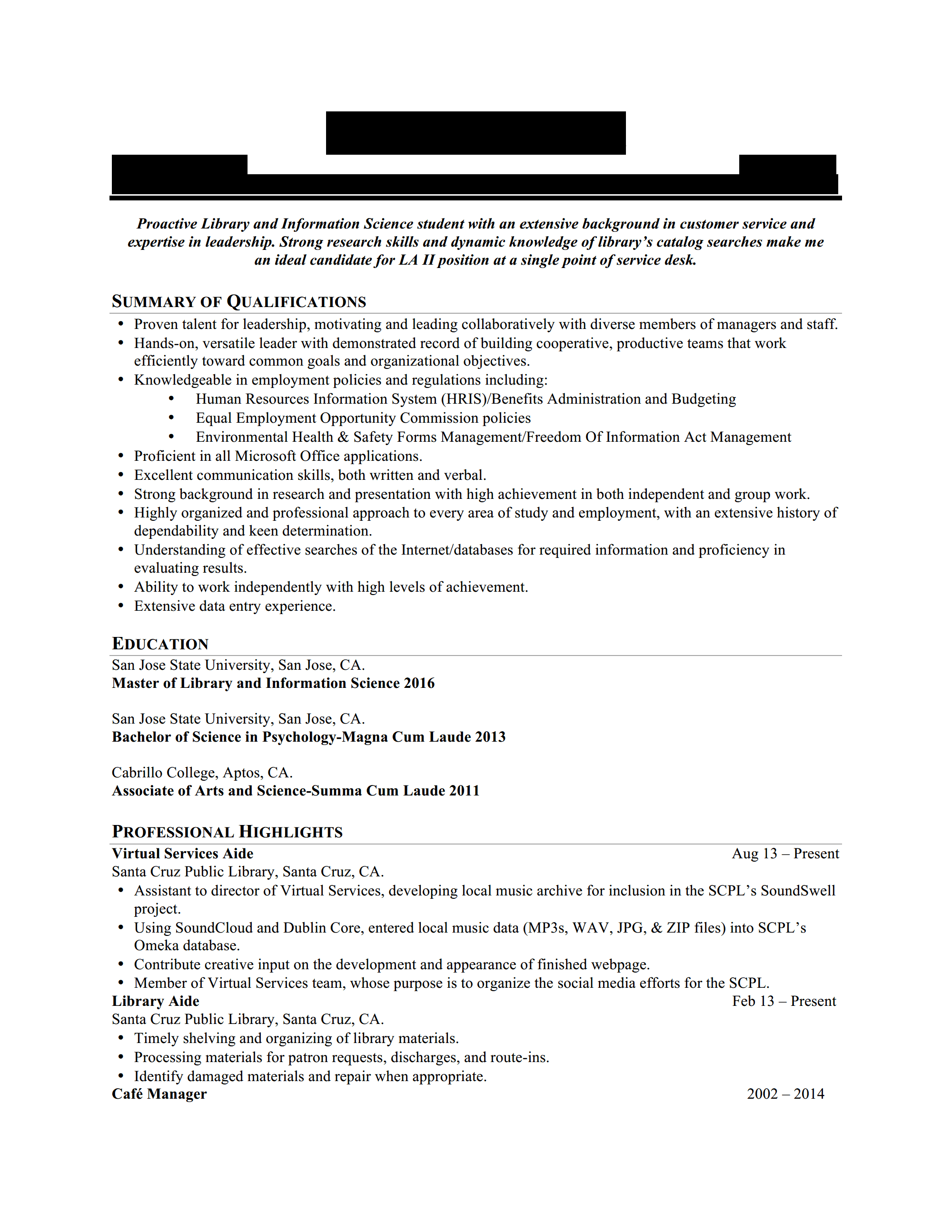 resume objective for library page