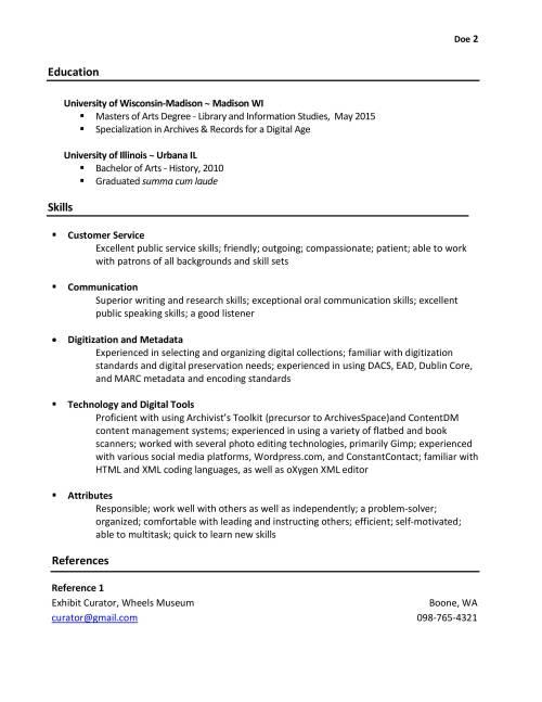 resume librarian