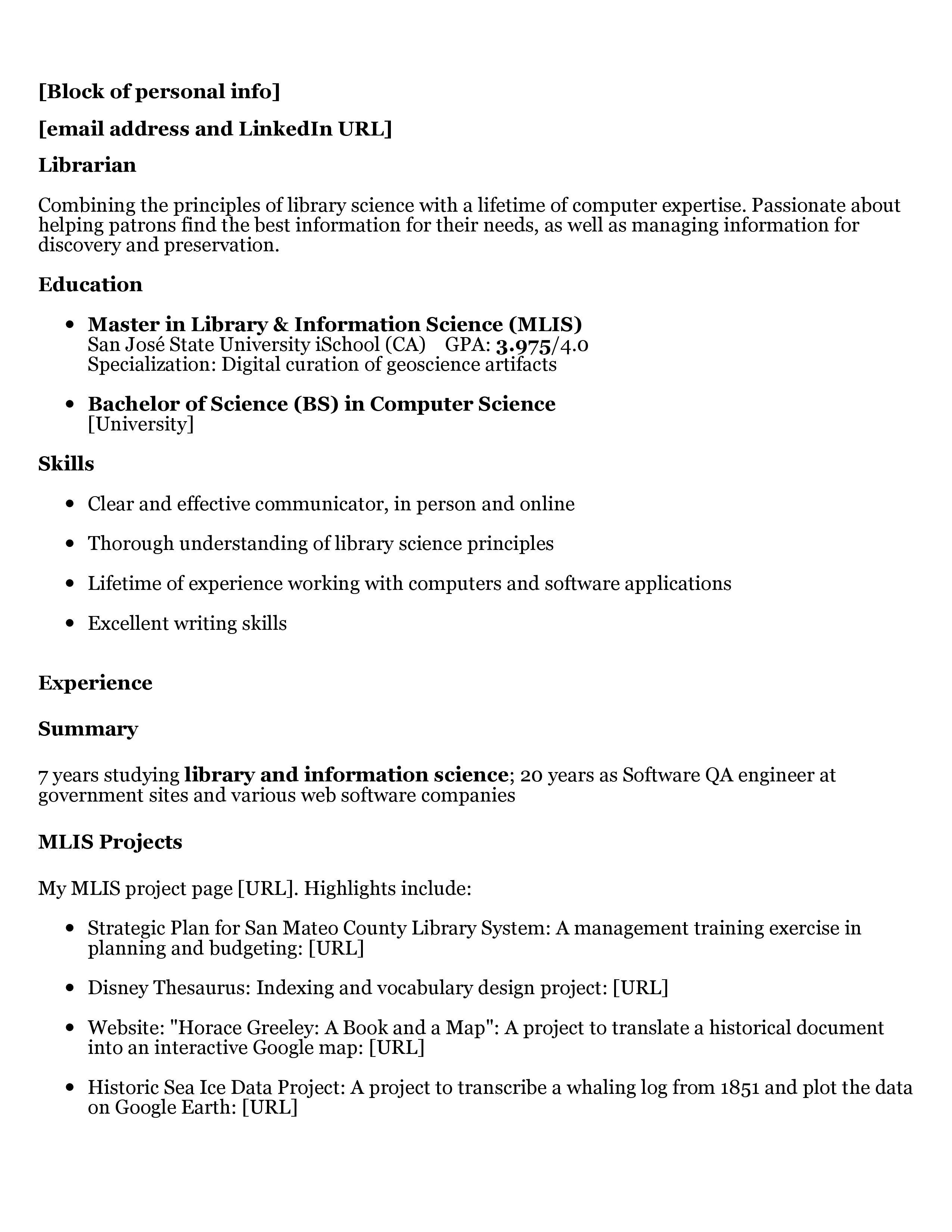 Resume Verb Tense Current Job