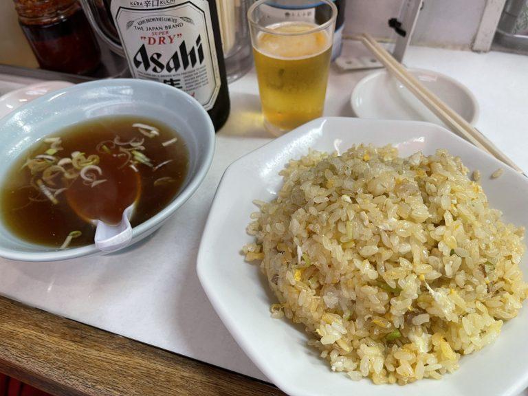珍々軒の炒飯とビール