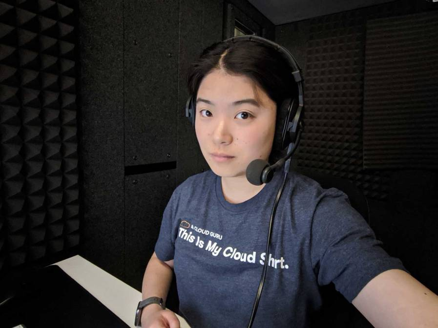 A selfie taken at a LinkedIn Learning recording booth