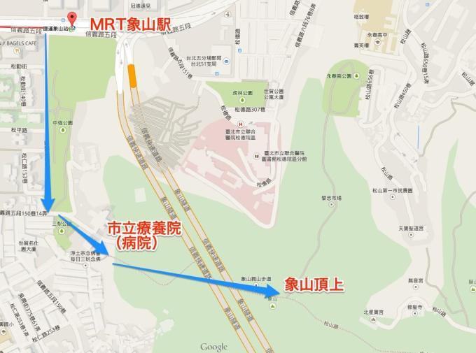 MRT象山から象山頂上までのアクセス