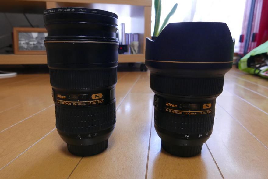 AF-S NIKKOR 24-70mm f/2.8G ED AF-S NIKKOR 14-24mm f/2.8G ED 比較