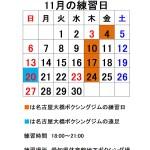 11月の練習日