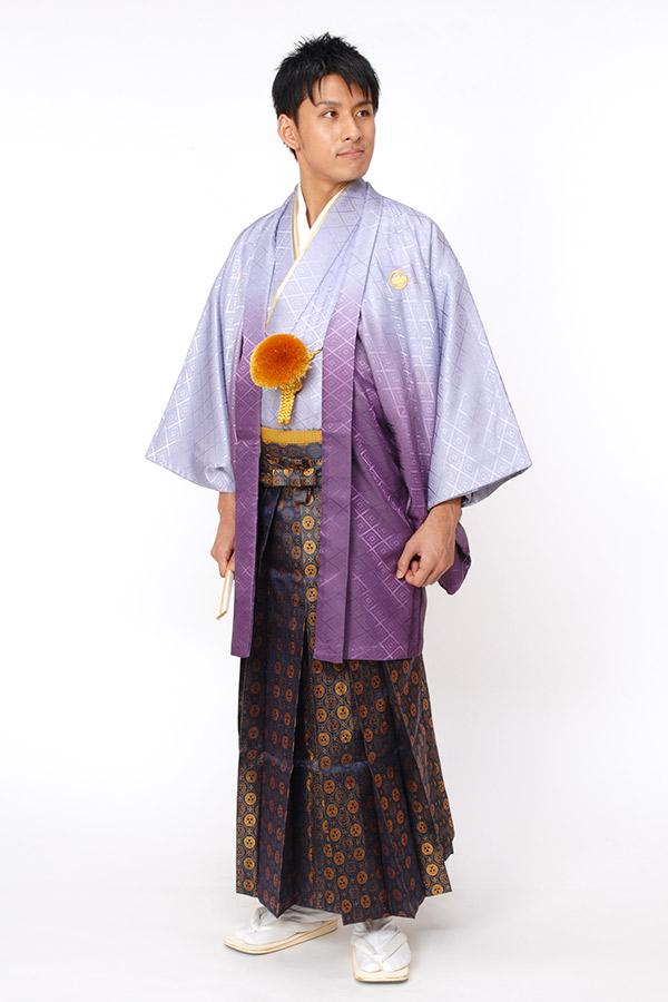 紋付袴 紫グラデーション