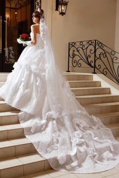 バラをモチーフにした飾りと左右のラインが違うドレス