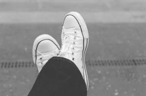 white-sneakers close-up