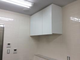 壁と一体化させたキッチン収納です。