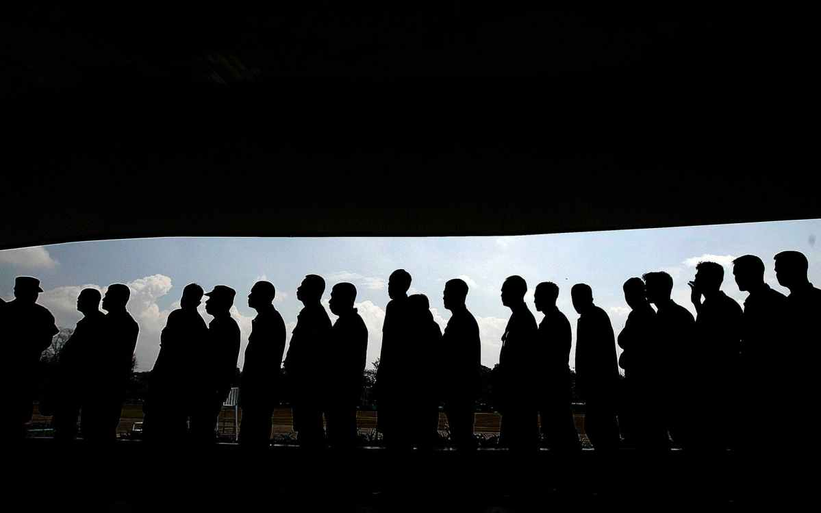 group of men forming a libe