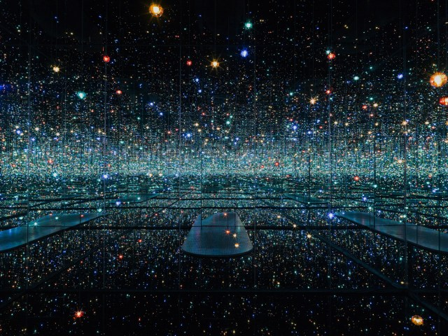 Infinity Mirrored Room –The Souls of Millions of Light Years Away, 2013 Wood, metal, mirrors, plastic, acrylic panel, rubber, LED lighting system, and acrylic balls 113 1/4 x 163 1/2 x 163 1/2 in. (287.7 x 415.3 x 415.3 cm) Collection of the artist; The Broad Art Foundation, Los Angeles