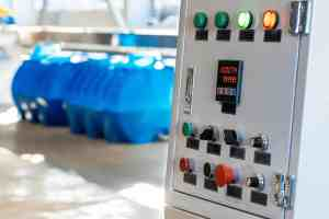 Control panel in production machine shop