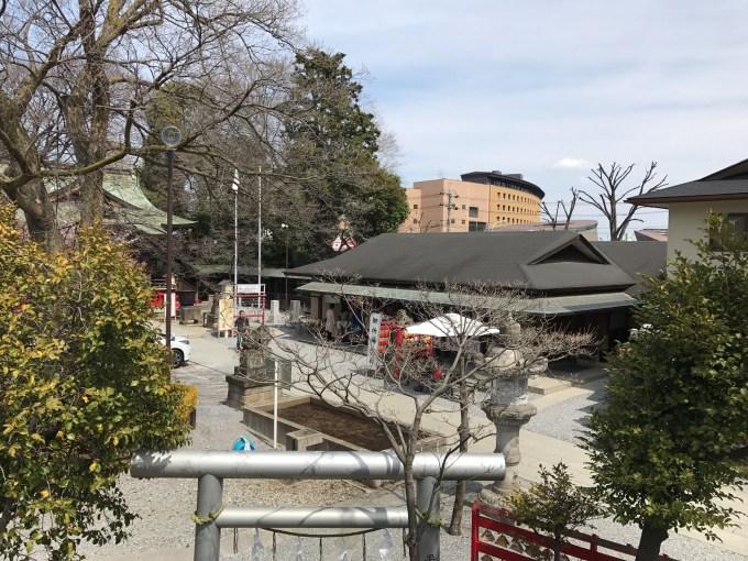 富士塚の頂上からの景色