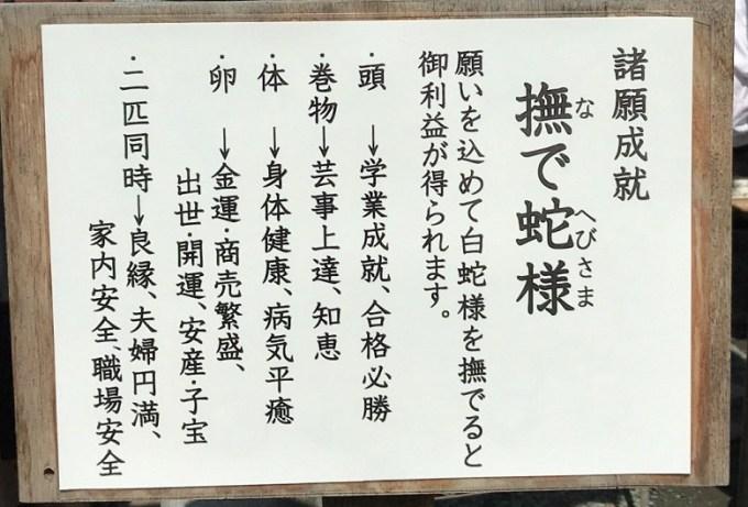 川越熊野神社撫で蛇様説明書き