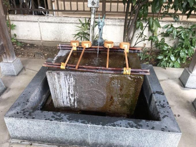氷川鍬神社手水石