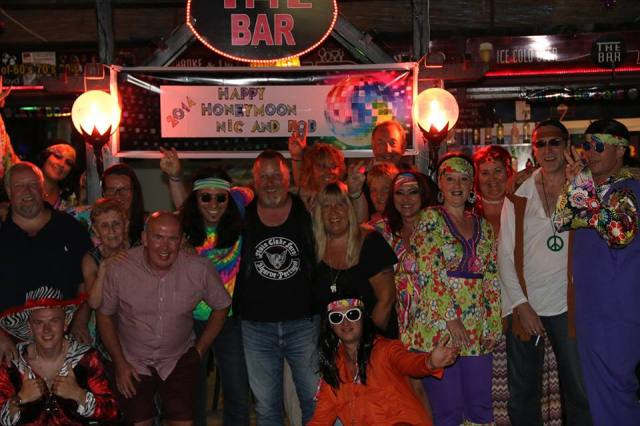 Rob & Nickys 1970s themed wedding party at The Bar.